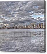 Seattle Cityscape In Clouds Canvas Print