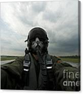 Self-portrait Of An Aerial Combat Canvas Print