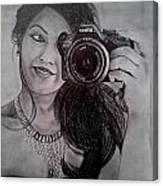 Selfie Pencil Sketch Canvas Print