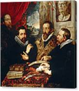Selfportrait With Brother Philipp Justus Lipsius And Another Scholar Canvas Print