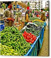 Selling Fresh Vegetables In Antalya Market-turkey Canvas Print