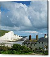 Seven Sisters Cliffs And Coastguard Cottages Canvas Print
