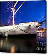 Ship At Night In Stockholm Canvas Print