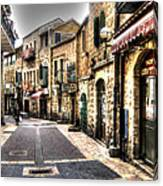 Quiet Shopping Street Before The Shops Open Canvas Print