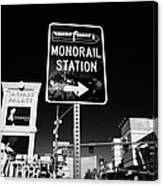 signpost for Las Vegas monorail station on las vegas boulevard Nevada USA Canvas Print