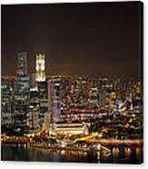 Singapore City Skyline At Night Canvas Print