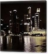 Singapore Skyline As Seen From The Pedestrian Bridge Canvas Print