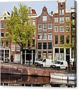Singel Canal Houses In Amsterdam Canvas Print