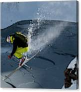 Skier Jumping On A Sunny Day Canvas Print