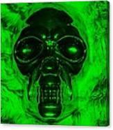 Skull In Green Canvas Print