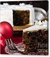 Slice Of Christmas Cake Canvas Print