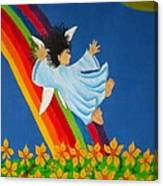 Sliding Down Rainbow Canvas Print