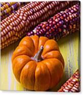 Small Pumpkin And Indian Corn Canvas Print