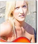 Smiling Female Guitarist Canvas Print