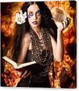 Sorcerer Casting Black Magic Spells Of Fire Canvas Print