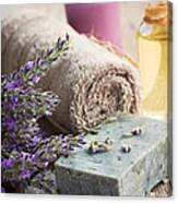 Spa With Lavender And Towel Canvas Print