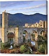 Spain. Besal�. Romanesque Bridge Canvas Print