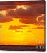 Spectacular Dramatic Orange Sunset Over The Ocean Canvas Print