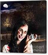 Spooky Girl With Silver Service Bell In Graveyard Canvas Print