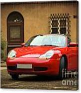 Sport Car In The Old Town Scenery Canvas Print