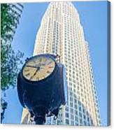 Standing By The Clock On City Intersection At Charlotte Downtown Canvas Print