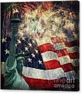 Statue Of Liberty And Fireworks Canvas Print