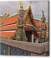 Statues At A Temple, Wat Phra Kaeo Canvas Print