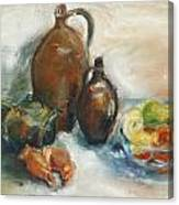 Still Life With Earthen Jugs Canvas Print