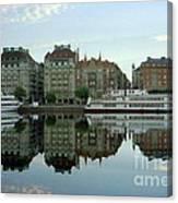 Stockholm City Harbor Sunrise Canvas Print