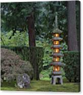 Stone Lantern Illuminated With Candles Canvas Print