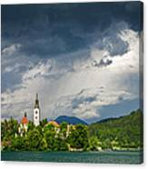 Storm Light Over Lake Bled Canvas Print