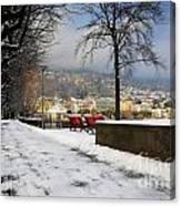 Street With Snow Canvas Print