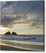 Sunset At Holywell Bay Canvas Print