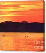 Sunset In The Balaton Lake Canvas Print