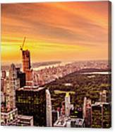 Sunset Over Central Park And The New York City Skyline Canvas Print