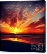 Sunset Puddle Reflections Canvas Print