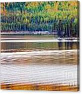 Sunset Reflections On Boreal Forest Lake In Yukon Canvas Print