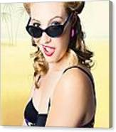 Surprised Pinup Girl On Tropical Beach Background Canvas Print