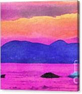 Swans In The Sunset Canvas Print