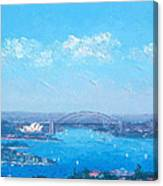 Sydney Harbour And The Opera House Cityscape View Canvas Print