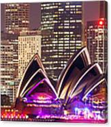 Sydney Skyline At Night With Opera House - Australia Canvas Print