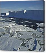 Tabular Iceberg With Broken Fast Ice Canvas Print