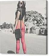Tall Young Black Woman Modelling Handbag Accessory Canvas Print