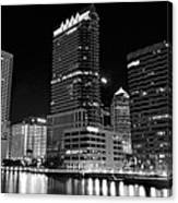 Tampa Black And White  Canvas Print