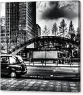Taxi At Canary Wharf Canvas Print