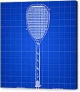 Tennis Racket Patent 1887 - Blue Canvas Print
