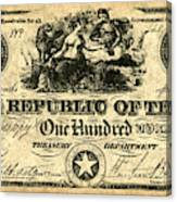 Texas Banknote, 1839 Canvas Print
