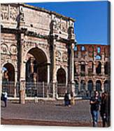 The Arch Of Constantine And Colosseum Canvas Print