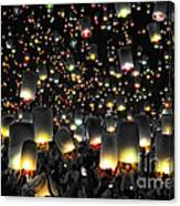 The Floating Lanterns In Thailand. Canvas Print