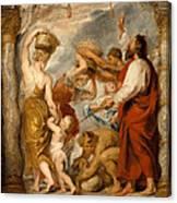 The Israelites Gathering Manna In The Desert Canvas Print